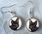 French Bulldog Drop Earrings ~ June Birthday Gift ~ Gifts Under 10 ~ Dog Painting ~ Frenchie Earrings