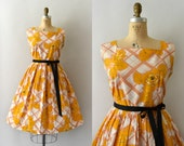 RESERVED LISTING -- 1950s Vintage Dress - 50s Lattice and Rose Print Cotton Sundress