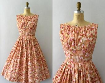 1950s Vintage Dress - 50s Floral Cotton Sundress