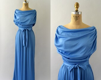 Vintage 1970s Dress - 70s Sky Blue Grecian Inspired Maxi Dress