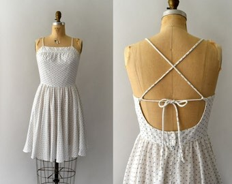1970s Vintage Dress - 70s Petite Floral Open Back Sundress