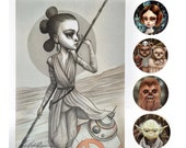 Star Wars Mini Print and Stickers Set - Rey, BB8, Princess Leia, Yoda, Chewbacca and Ewok Family pop surrealism by Mab Graves