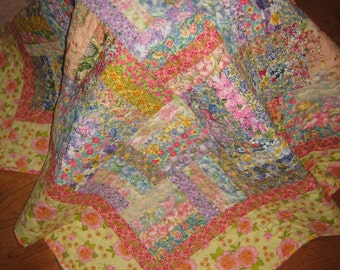 Lap Quilt, Shabby Chic Floral Country Charm, Sofa Throw, Pastel Lap Quilt, Soft Floral Pastel Quilt, Baby Quilt, Handmade Quilt, Tahoequilts