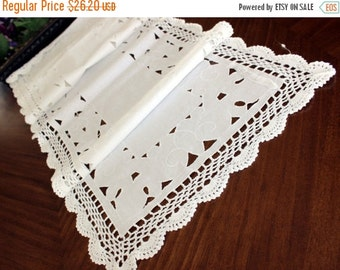 Cotton Table Runner, Cutwork Linen, Crocheted Edges, White Table Scarf, Vintage Cloths 13382