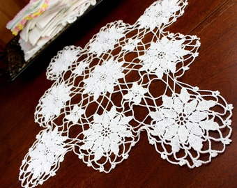 Large Openworked Doily, Crochet Centerpiece, White Crocheted Vintage Table Linens 12357
