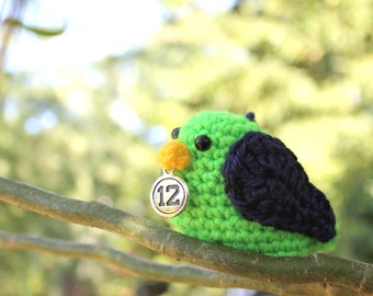 Seattle Seahawk 12 twelfth man Navy and Neon Green Amigurumi Bird
