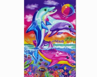 Classic Lisa Frank Dancing Dolphins Postcard