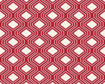 Laminated Cotton aka Oilcloth HEAVYWEIGHT splat mat Riley Blake bright red and cream geometric pattern choose your size