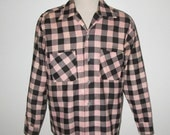 Vintage 1950s Pink & Black Checked Flannel Shirt Sportswear By Colonial - Size M