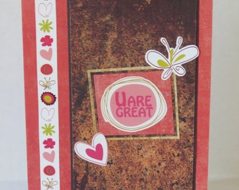 U Are Great Christian Encouragement Card With Flowers Hearts And Scripture