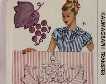 40s Vintage McCall Kaumagraph Transfer Pattern 1242 Blue Complete Unused with 1946 Receipt