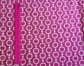 CLEARANCE SALE 1 yard Cherry pink chain  fabric