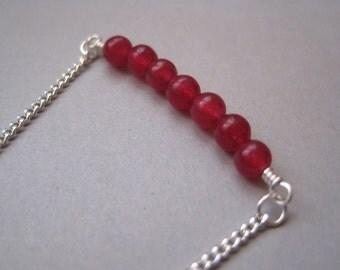 Jade Bar Necklace, Fuschia Jade, Minimalist Necklace, Pink Stone Necklace, Modern Gemstone Jewelry