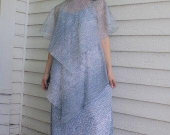 Blue Print Tiered Maxi Dress Flutter Vintage 70s Long S XS