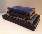 Vintage Set of 4 Blue Hardback Books, Shelf Art, Poetry of Byron, The Pocket University POE, Mrs. Monty and the Birds, Outline Geography