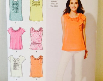 Uncut, Simplicity Sewing Pattern 2599 Sizes 4 6 8 10 12, 6 Summer Tops Sleeveless, Short Sleeves, Ruffles, T Shirt, B C D Cup Size Pattern