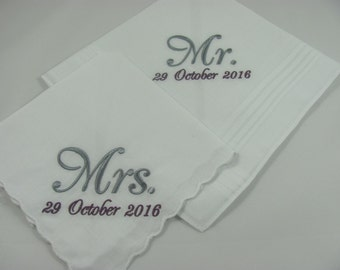 Set of 2 - Embroidered Handkerchiefs - Mr & Mrs - Wedding Gift - Simply Sweet Hankies