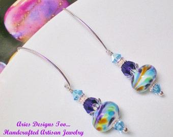 Purple, Aqua and Topaz Swirl Lampwork Earrings, Modern Abstract Dangle Earrings in Purple,Aqua & Topaz