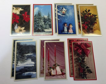 12 vintage glossy, picture Christmas cards - NEW - not written on - 1970s
