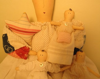 Primitive Handmade Quilt Doll reclaimed and upcycled Antique Quilt/Vintage Linen Dress