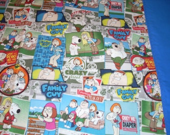 Family Guy - Pillowcase with blue trim - Fits Standard and Queen size pillows