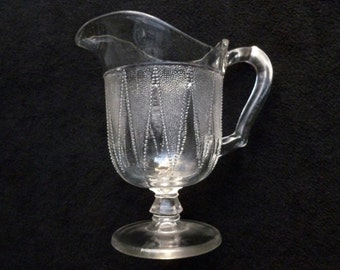 1889 Eapg Dewdrop In Points Glass Small Milk Pitcher Nice No Damage Htf!