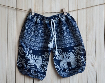 Kid's Black Elephant Printed Cotton Pants /Gypsy Pants/Aladdin Pants/Genie Pants/Yoga Pants /Thai Pants Size-S