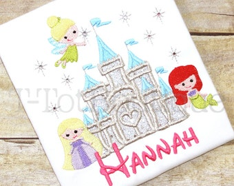 PICK your PRINCESS CASTLE Embroidered Birthday Shirt or Bodysuit with Sequins and Bling Rhinestones - Free Personalization