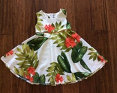 Beautiful girl's dress in Hawaiian print  (all sizes available)