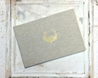 Personalized Linen Guest Book | Natural Linen Guest Book with Gold Vintage Wreath