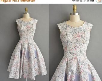 25% off SHOP SALE... vintage 1950s dress / 50s cotton pink and gray floral print vintage dress