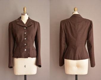 50s brown wool nipped waist vintage jacket / vintage 1950s jacket