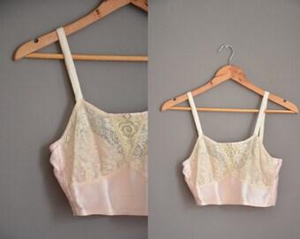 20s antique pink silk bra / vintage 1920s bra