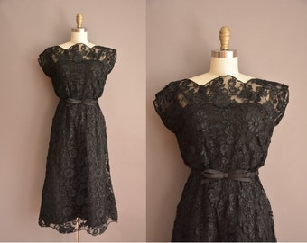 50s gorgeous black lace vintage cocktail dress / vintage 1950s dress