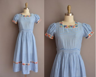 40s blue stripe cotton vintage dress / vintage 1940s dress