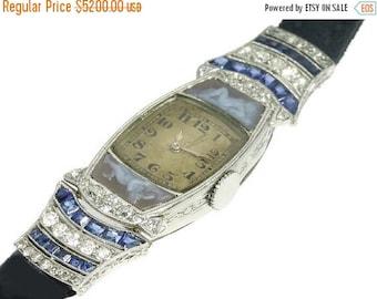 Summer Sale Art Deco Nude Cameo Movado Woman Wrist Watch Diamond Blue Sapphire Platinum Vintage 1920s Watch ref.13119-0030