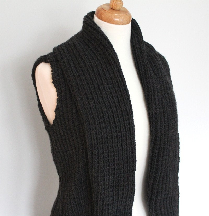 Vest Knitting Pattern Beginners : Vest knitting pattern chunky wide collar pdf