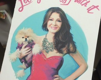 Lisa Vanderpump Giggy Funny Valentine Birthday Any Occasion Card with real glitter!