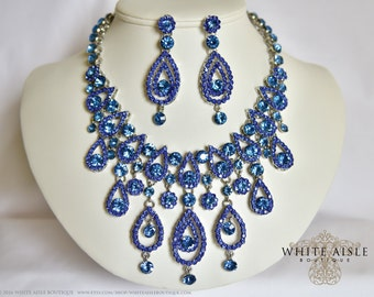 Blue Bridal Jewelry Set, Crystal Statement Necklace Earrings, Drop Necklace, Vintage Inspired Rhinestone Necklace, Wedding Jewelry