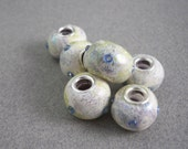 European beads handmade polymer clay crackle finish with seed beads