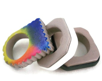 Polymer art rings set of three