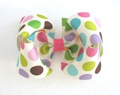 4 inch Boutique Hair Bow, Grosgrain Ribbon Hair Bow, Polka Dot Hair Bow, Easter Hair Bow, Girls Hair Bow, Toddler Hair Clip, Ivory Hair Bow