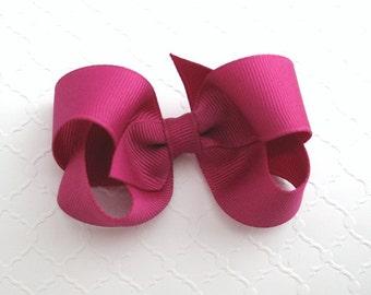 """3"""" Fuschia Hair Bow ~ Thanksgiving Hair Bows ~ Girls Hair Bow ~ Classic Hair Bow ~ Toddler Girl Hair Bows"""