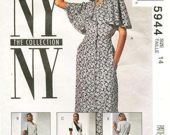 Misses' Flutter Sleeve Asymmetrical Dress in Three Variations - NY NY The Collection -  Sz 14 - McCall's Dress Pattern 5944