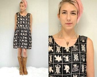 90s Babydoll Dress  //  Black Animal Print Dress  //   THE ZEPHYR