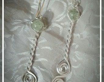 Prehnite Sterling Silver Braided Hammered Earrings