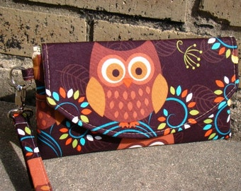 Owl Everyday Wallet, Smart Phone Wallet, Mini Bridesmaids Clutch, Smart Phone Wallet, Bridesmaid Gift, Bridesmaid Clutch, Clutch