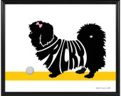 Personalized Pekingese Silhouette Print, Framed 8x10 Dog Name Art, Gift for Dog Lover