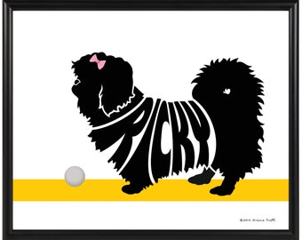 Personalized Pekingese Silhouette Print, Framed 8x10 Dog Name Art, Gift for Dog Lover
