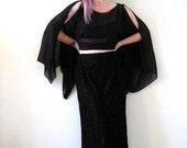 BIG ASS SALE vintage Carmen Marc Valvo black beaded maxi skirt snakeskin animal print jet beads Holiday Nye witchy goth
